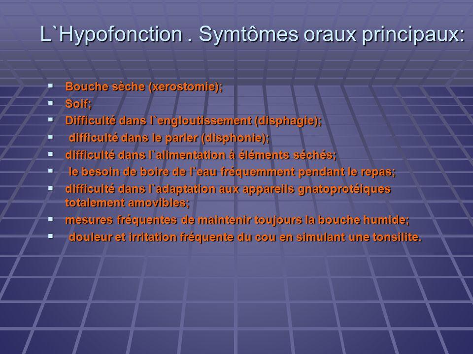 L`Hypofonction . Symtômes oraux principaux: