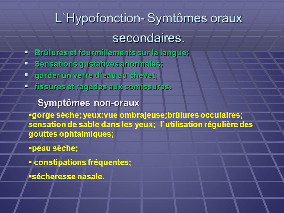 L`Hypofonction- Symtômes oraux secondaires.