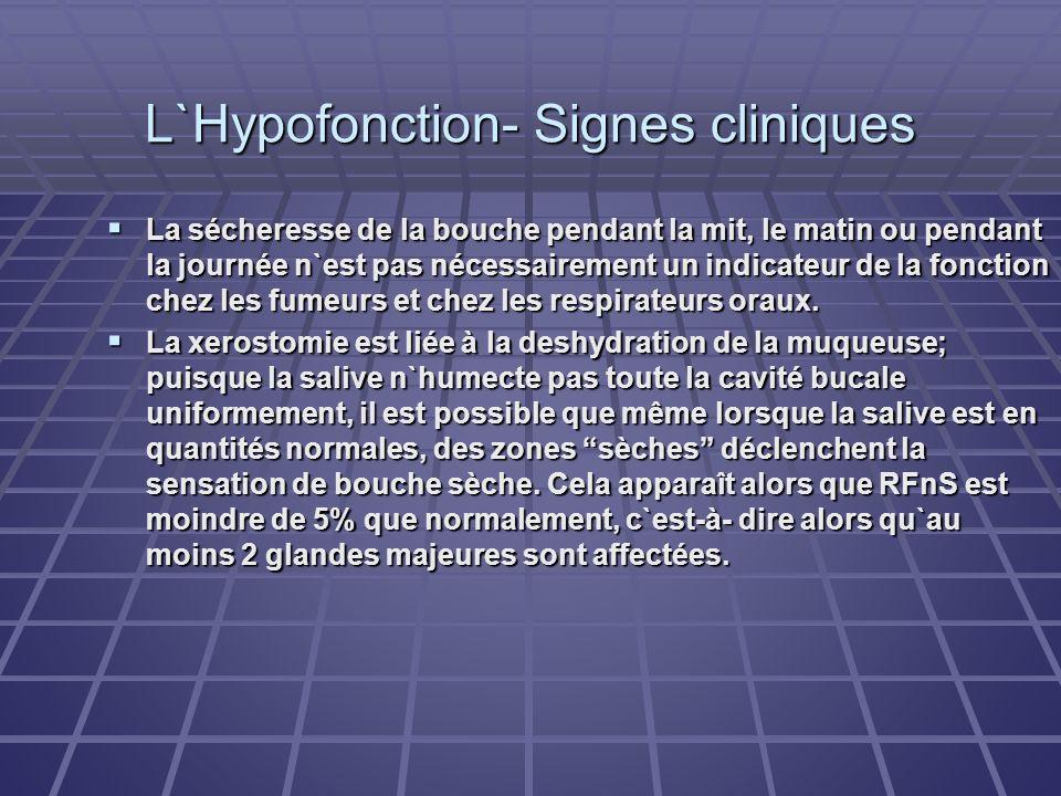 L`Hypofonction- Signes cliniques