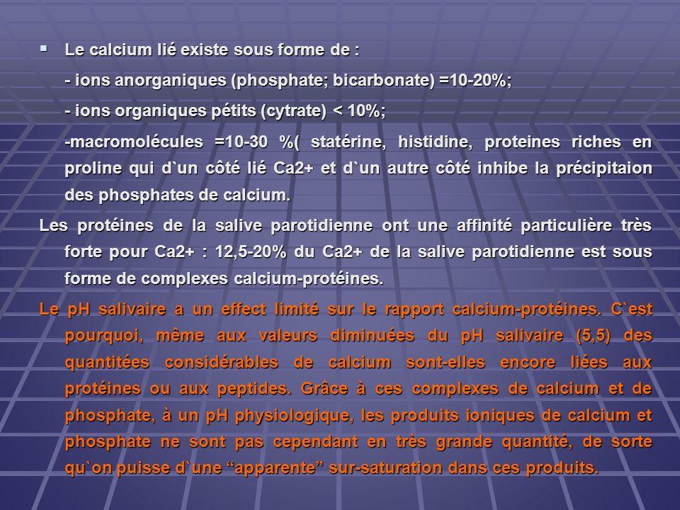 Le calcium lié existe sous forme de :