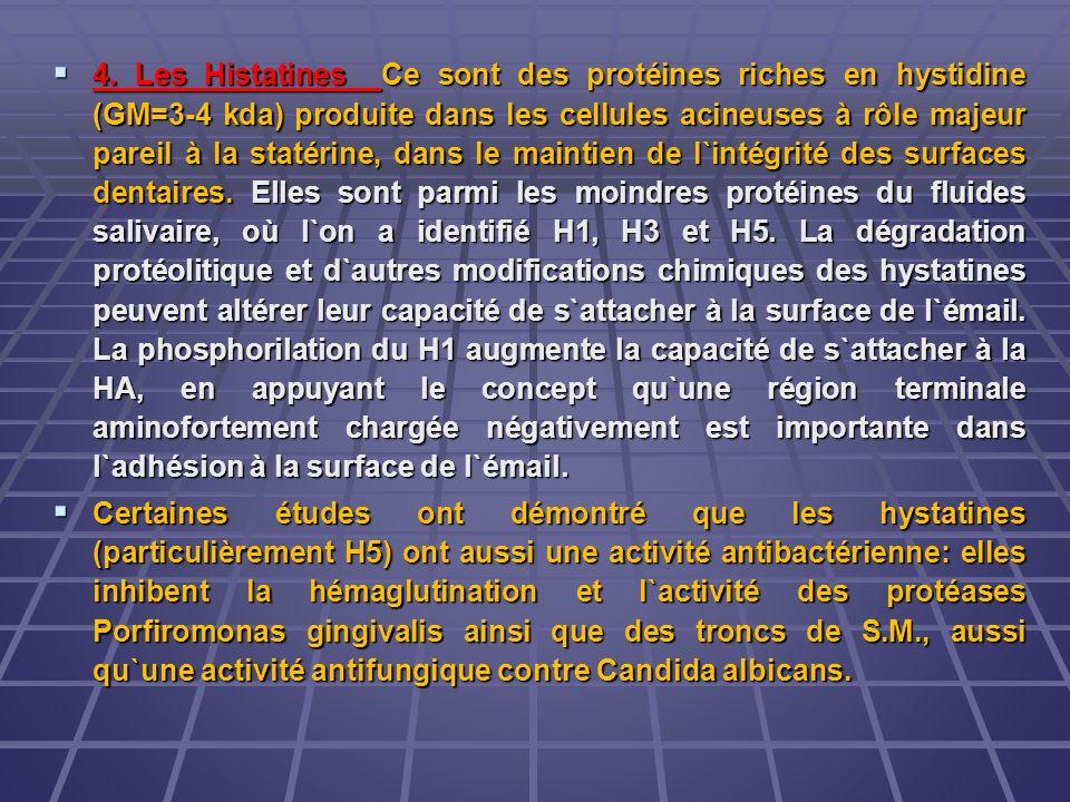 4. Les Histatines Ce sont des protéines riches en hystidine (GM=3-4 kda) produite dans les cellules acineuses à rôle majeur pareil à la statérine, dans le maintien de l`intégrité des surfaces dentaires. Elles sont parmi les moindres protéines du fluides salivaire, où l`on a identifié H1, H3 et H5. La dégradation protéolitique et d`autres modifications chimiques des hystatines peuvent altérer leur capacité de s`attacher à la surface de l`émail. La phosphorilation du H1 augmente la capacité de s`attacher à la HA, en appuyant le concept qu`une région terminale aminofortement chargée négativement est importante dans l`adhésion à la surface de l`émail.