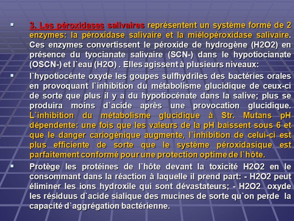 3. Les péroxidases salivaires représentent un système formé de 2 enzymes: la péroxidase salivaire et la miélopéroxidase salivaire. Ces enzymes convertissent le péroxide de hydrogène (H2O2) en présence du tyocianate salivaire (SCN-) dans le hypotiocianate (OSCN-) et l`eau (H2O) . Elles agissent à plusieurs niveaux: