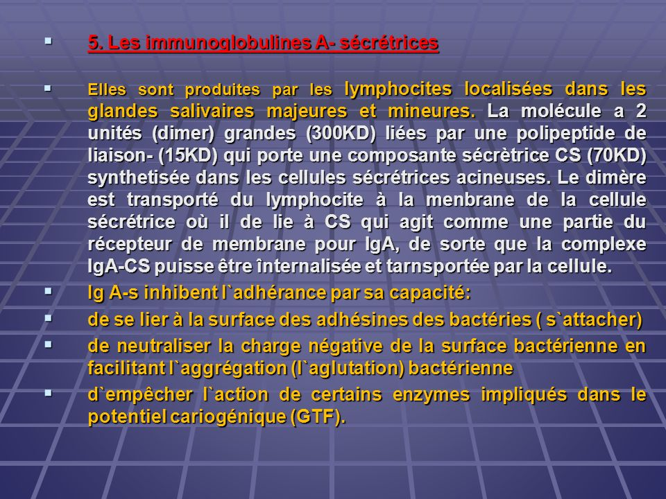 5. Les immunoglobulines A- sécrétrices