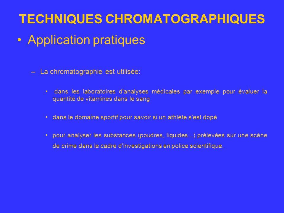 TECHNIQUES CHROMATOGRAPHIQUES