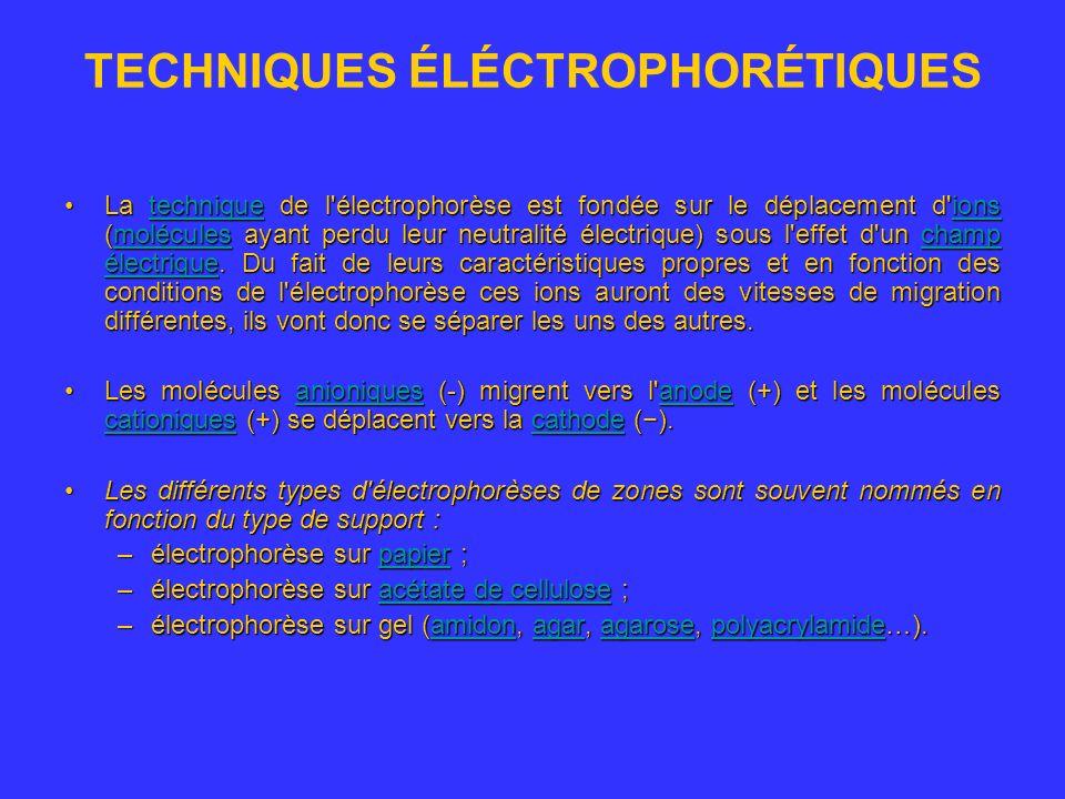 TECHNIQUES ÉLÉCTROPHORÉTIQUES