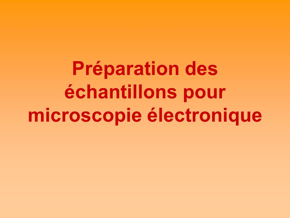 Préparation des échantillons pour microscopie électronique