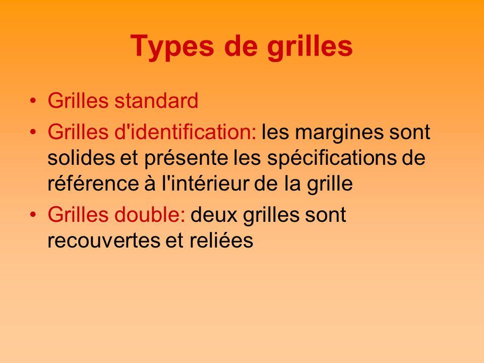 Types de grilles Grilles standard