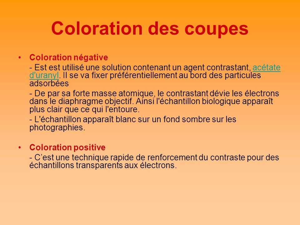 Coloration des coupes Coloration négative