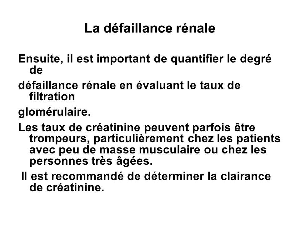 La défaillance rénale Ensuite, il est important de quantifier le degré de. défaillance rénale en évaluant le taux de filtration.