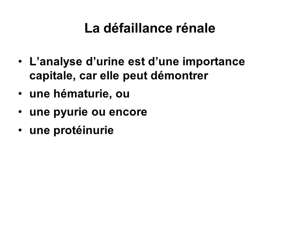 La défaillance rénale L'analyse d'urine est d'une importance capitale, car elle peut démontrer. une hématurie, ou.