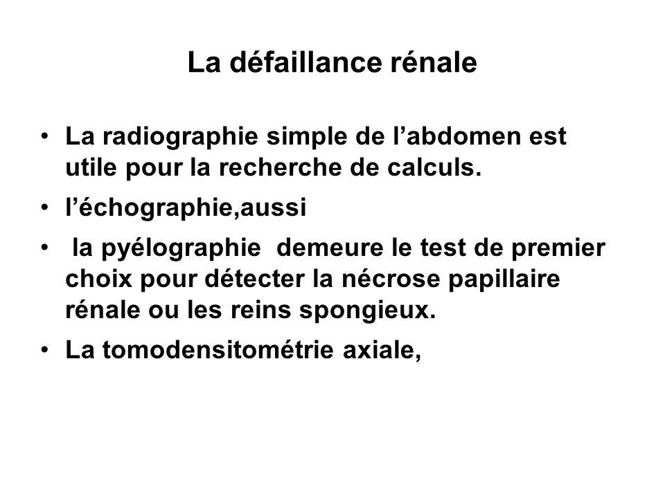 La défaillance rénale La radiographie simple de l'abdomen est utile pour la recherche de calculs.