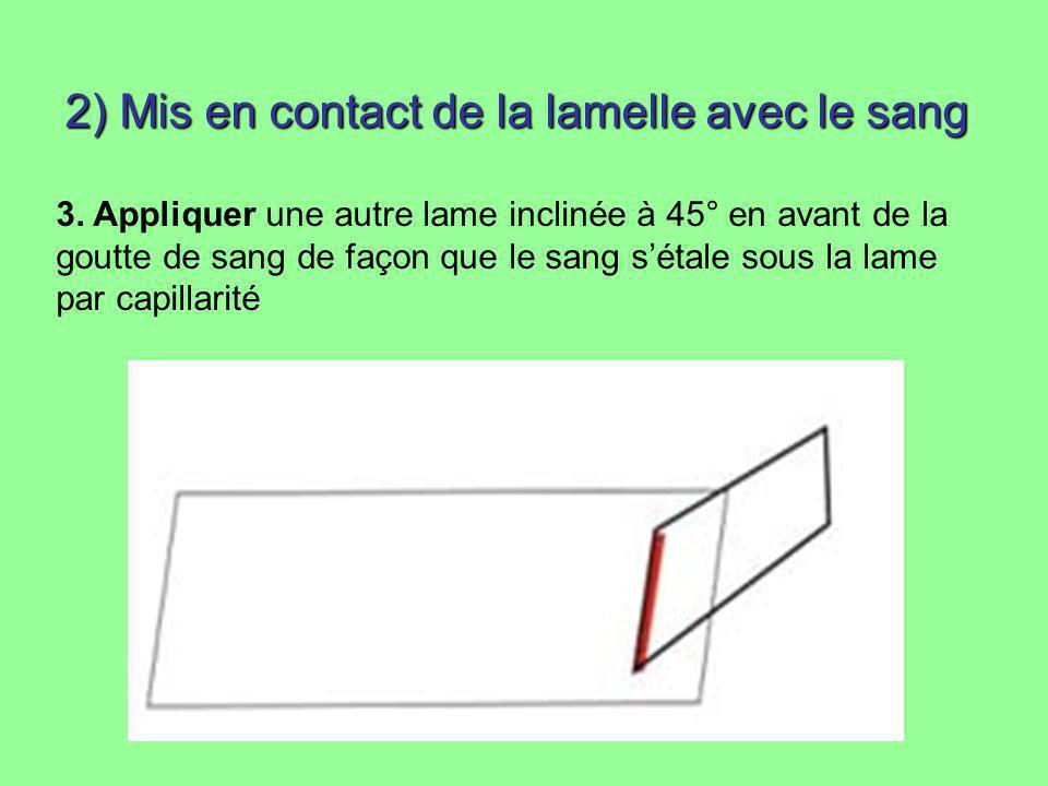 2) Mis en contact de la lamelle avec le sang