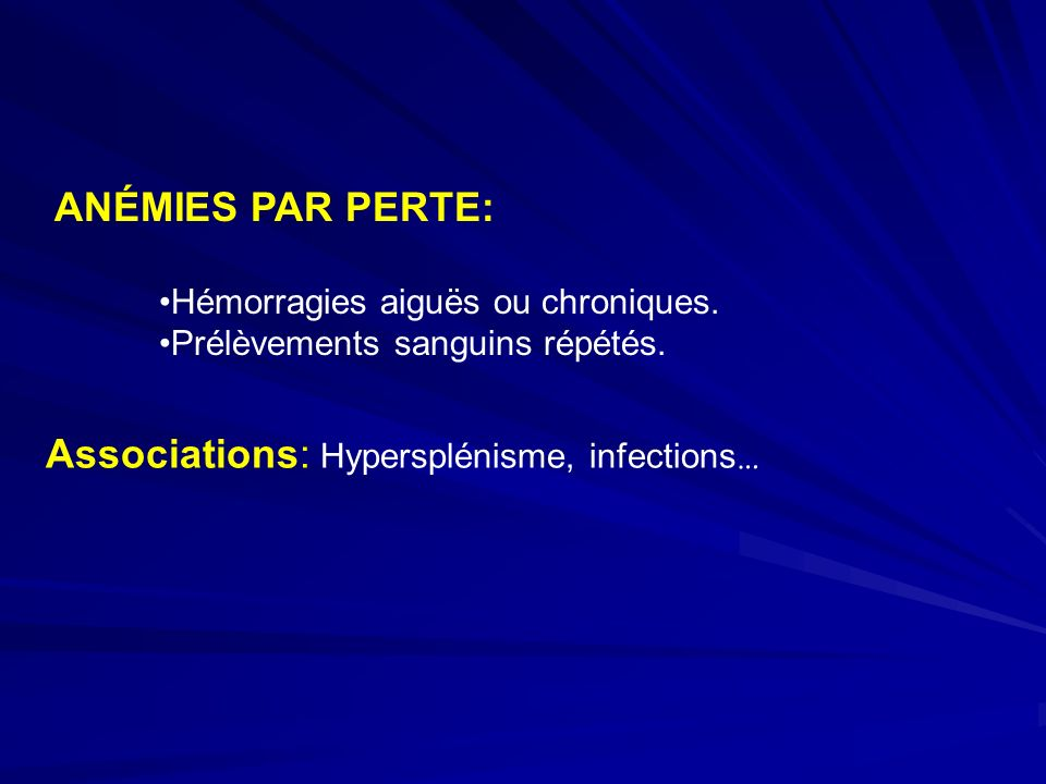 Associations: Hypersplénisme, infections…
