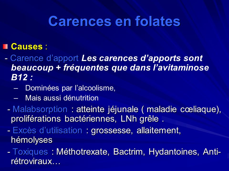 Carences en folates Causes :