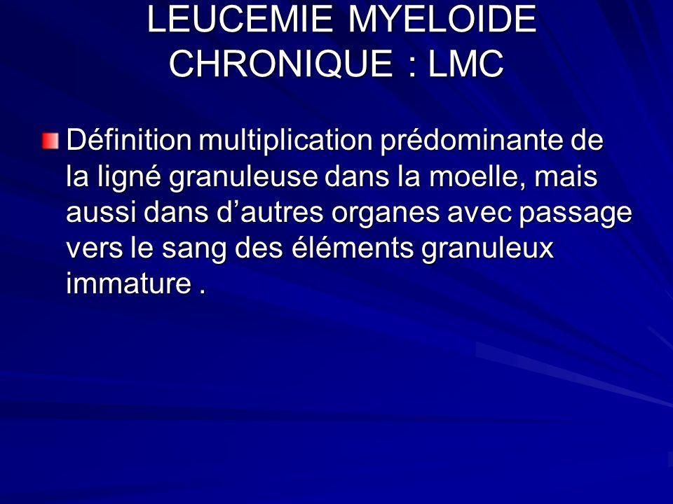 LEUCEMIE MYELOIDE CHRONIQUE : LMC