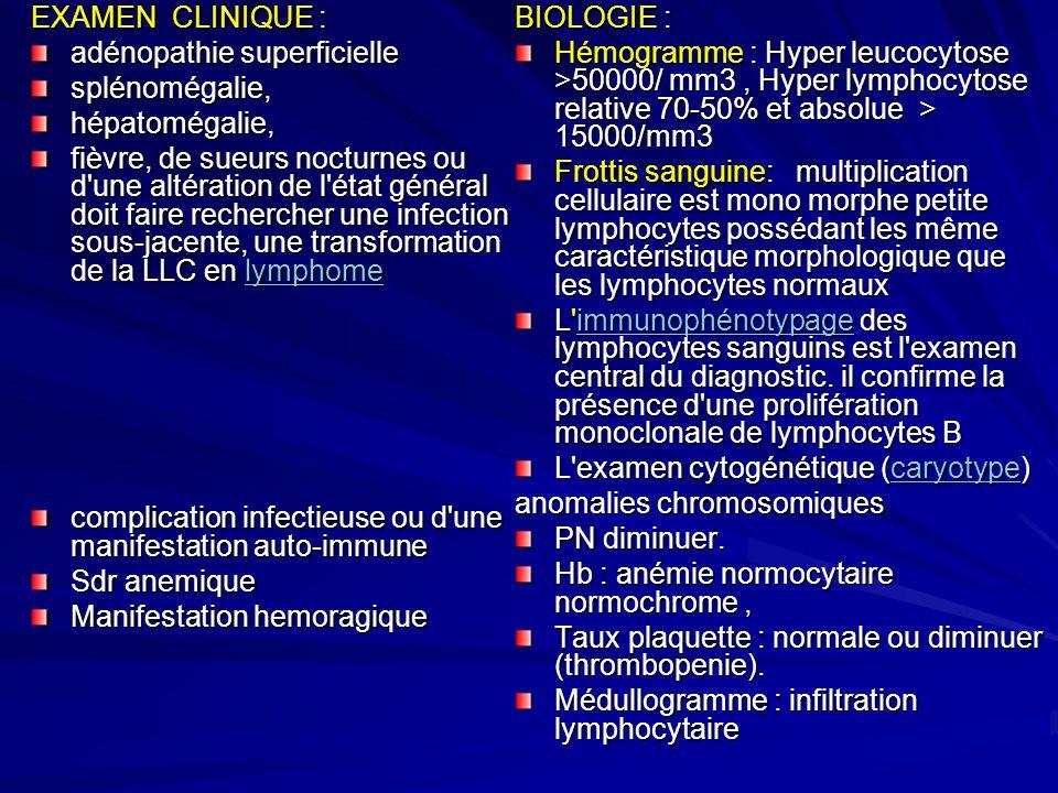 EXAMEN CLINIQUE :adénopathie superficielle. splénomégalie, hépatomégalie,