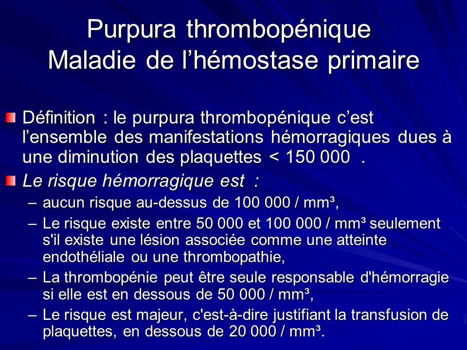 Purpura thrombopénique Maladie de l'hémostase primaire