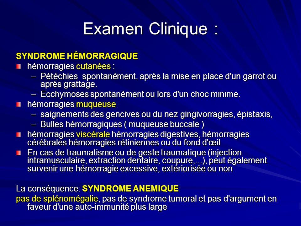Examen Clinique : SYNDROME HÉMORRAGIQUE hémorragies cutanées :