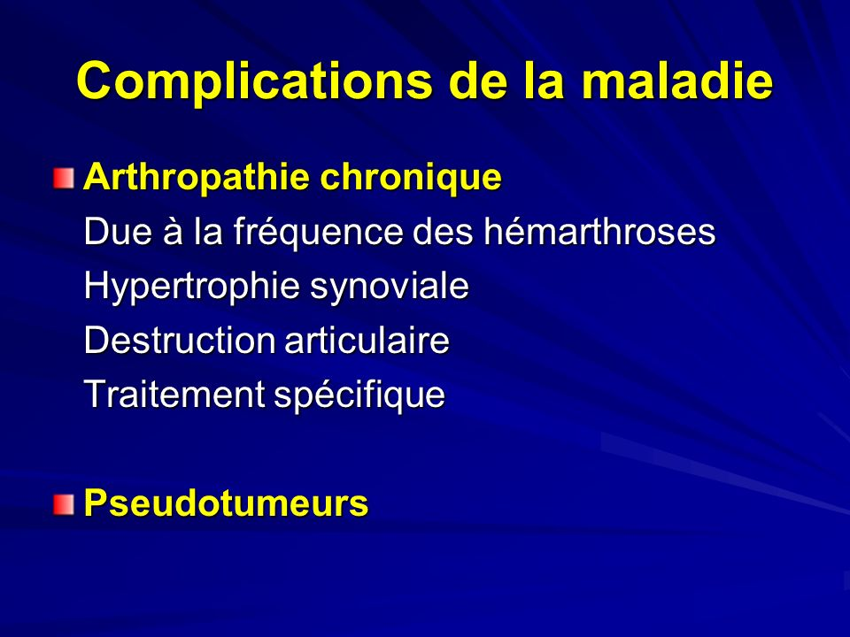 Complications de la maladie
