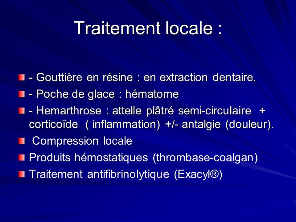 Traitement locale : - Gouttière en résine : en extraction dentaire.