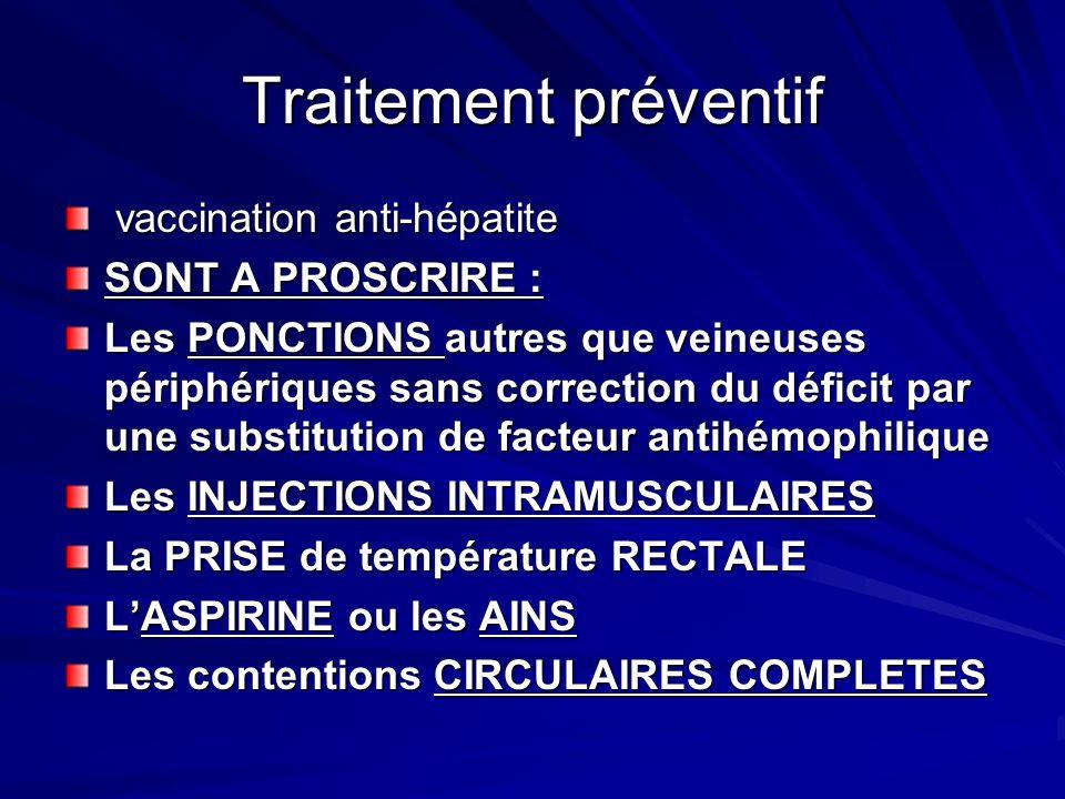 Traitement préventif vaccination anti-hépatite SONT A PROSCRIRE :