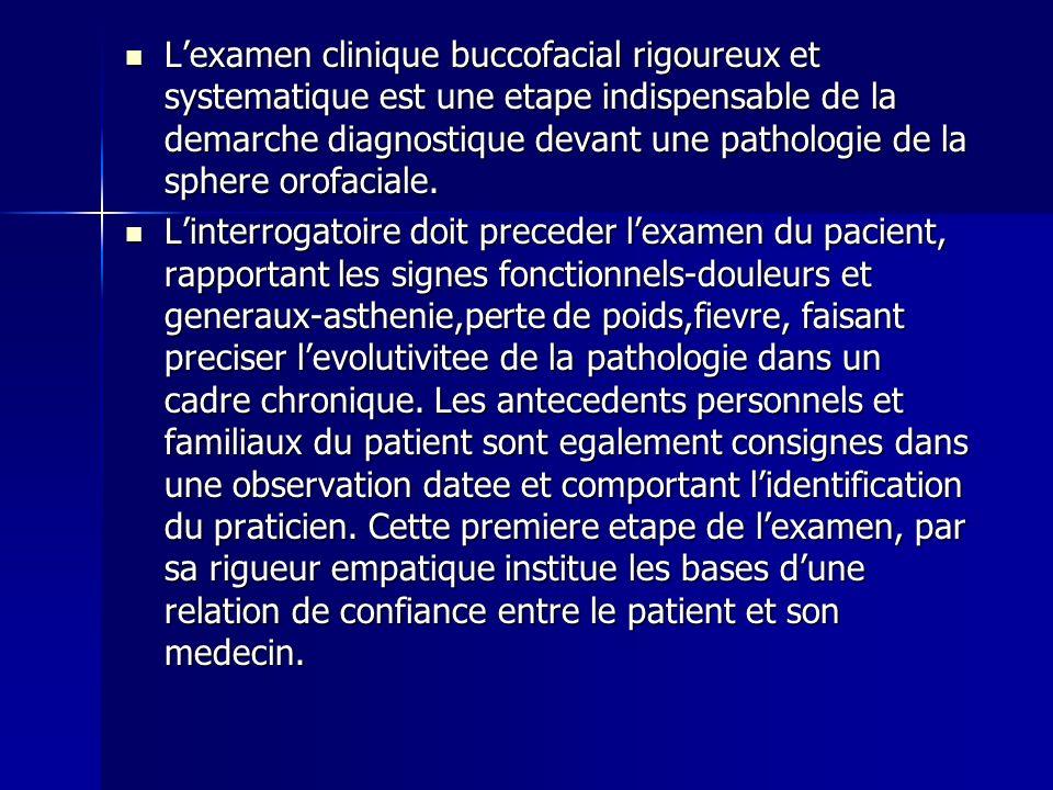 L'examen clinique buccofacial rigoureux et systematique est une etape indispensable de la demarche diagnostique devant une pathologie de la sphere orofaciale.