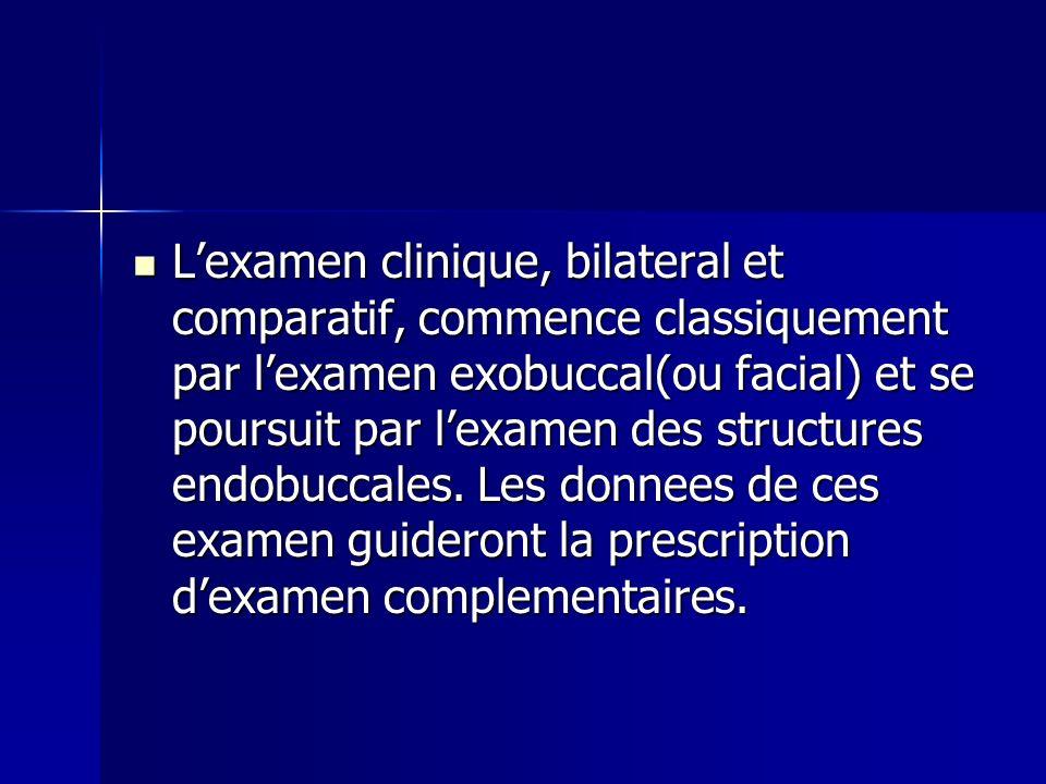 L'examen clinique, bilateral et comparatif, commence classiquement par l'examen exobuccal(ou facial) et se poursuit par l'examen des structures endobuccales.