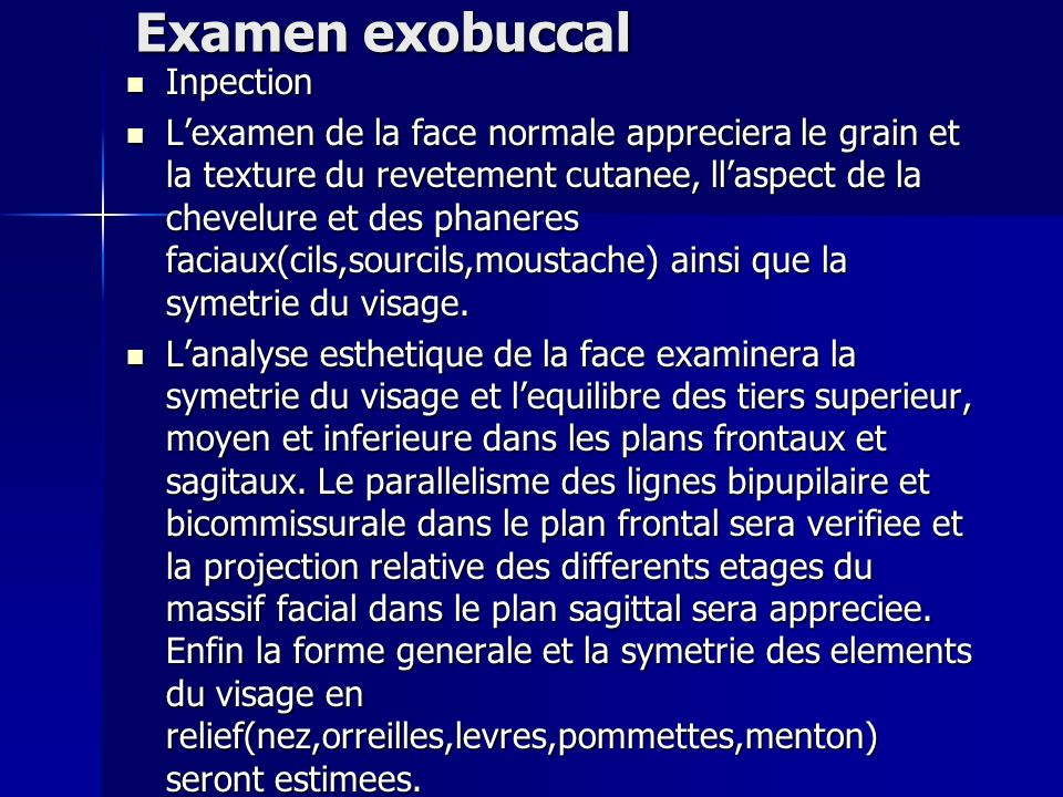 Examen exobuccal Inpection