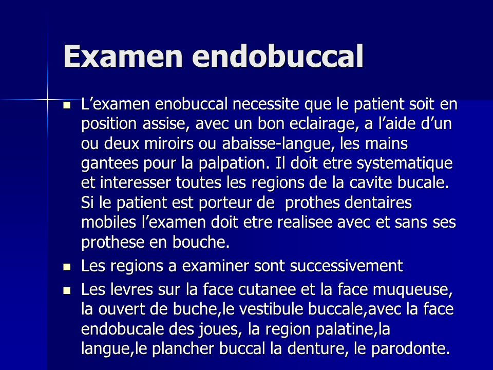 Examen endobuccal