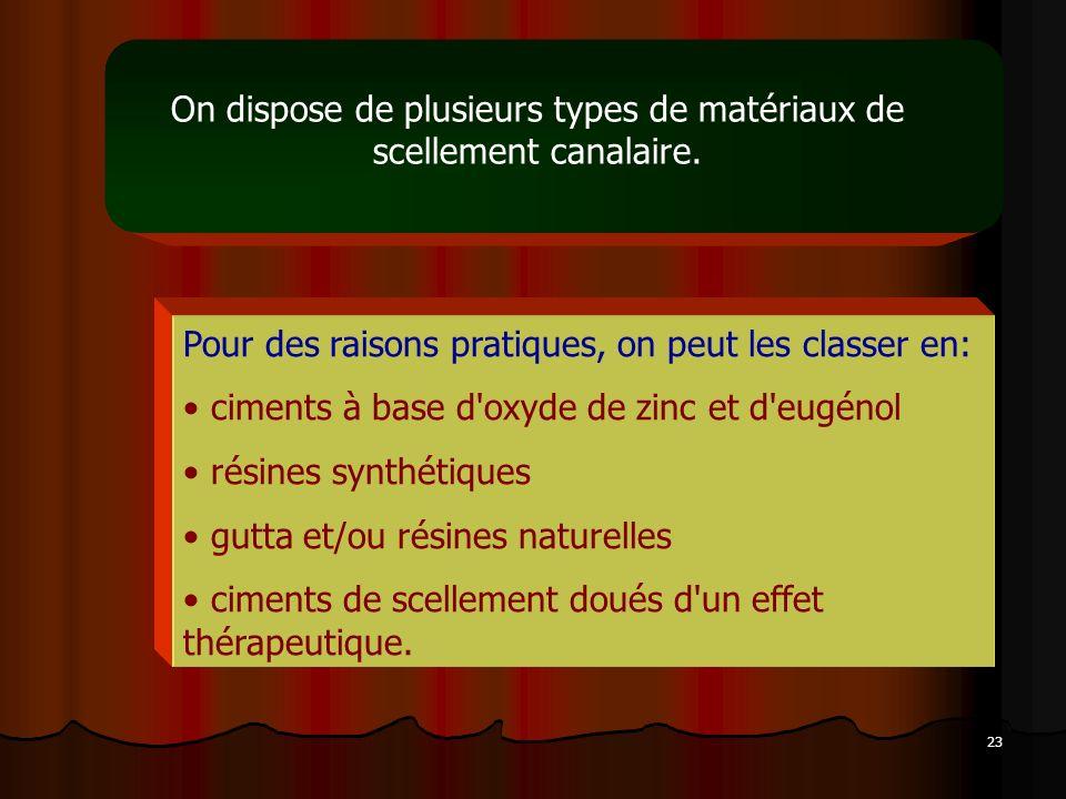 On dispose de plusieurs types de matériaux de scellement canalaire.
