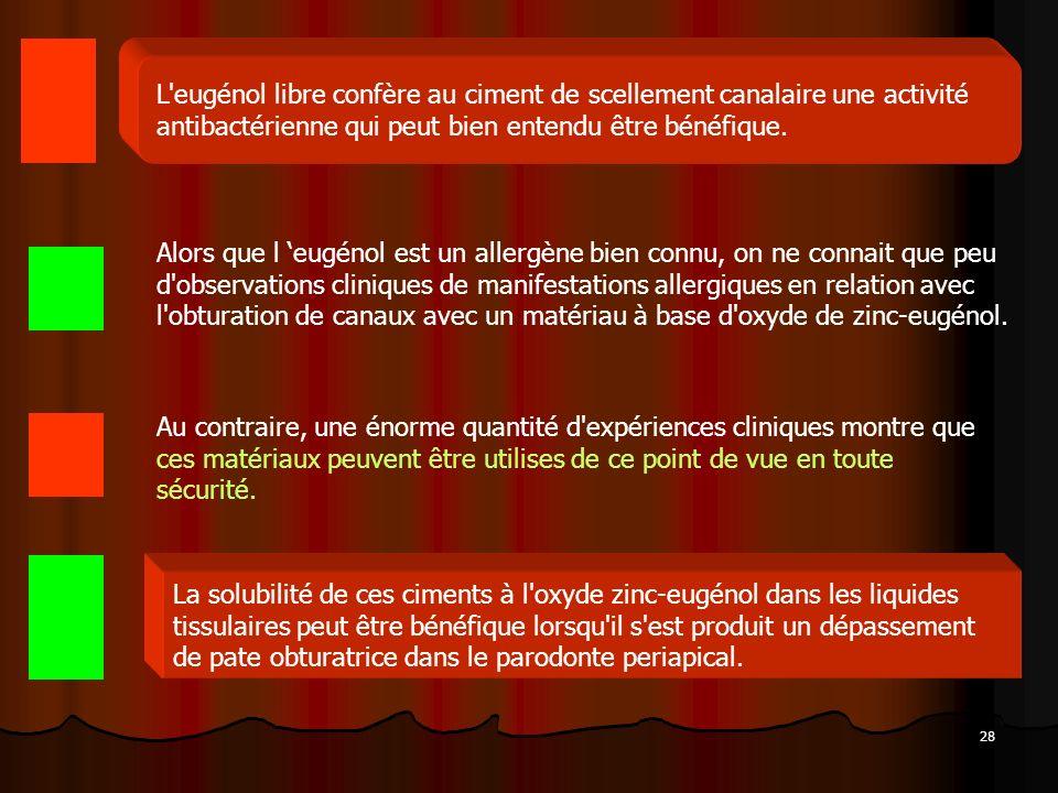 L eugénol libre confère au ciment de scellement canalaire une activité antibactérienne qui peut bien entendu être bénéfique.