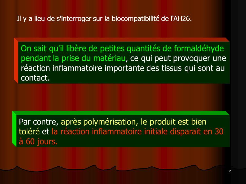 Il y a lieu de s interroger sur la biocompatibilité de l AH26.