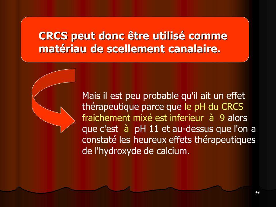 CRCS peut donc être utilisé comme matériau de scellement canalaire.
