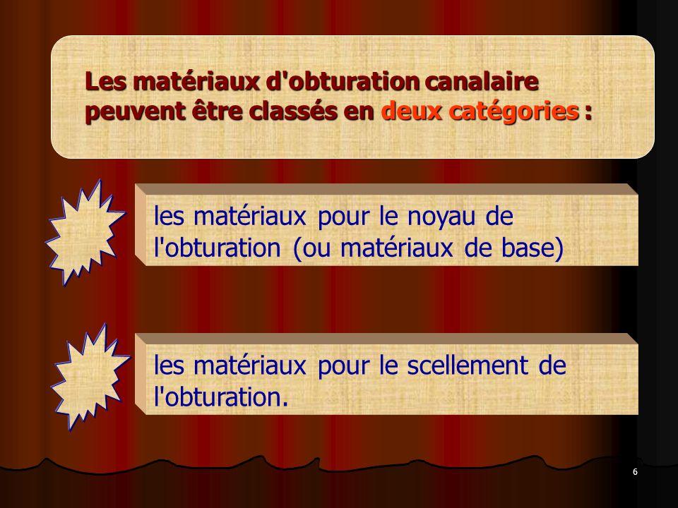 les matériaux pour le noyau de l obturation (ou matériaux de base)