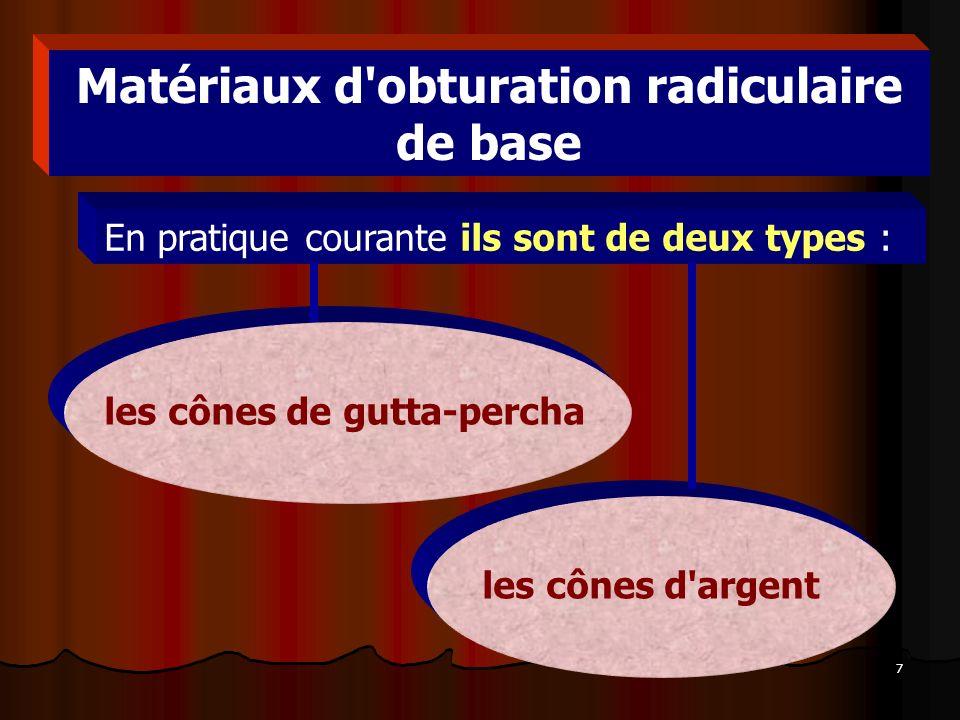 Matériaux d obturation radiculaire de base