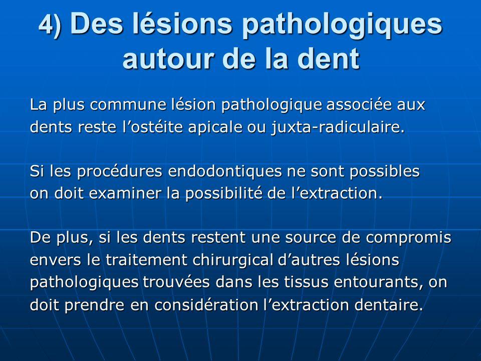 4) Des lésions pathologiques autour de la dent
