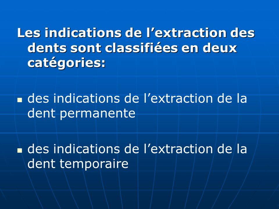 Les indications de l'extraction des dents sont classifiées en deux catégories: