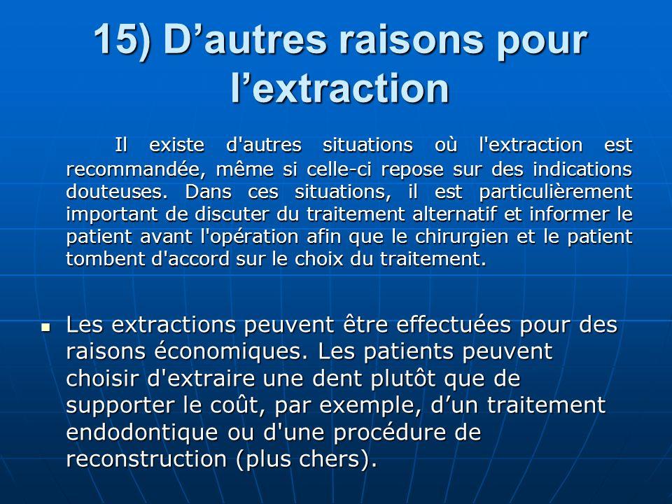15) D'autres raisons pour l'extraction