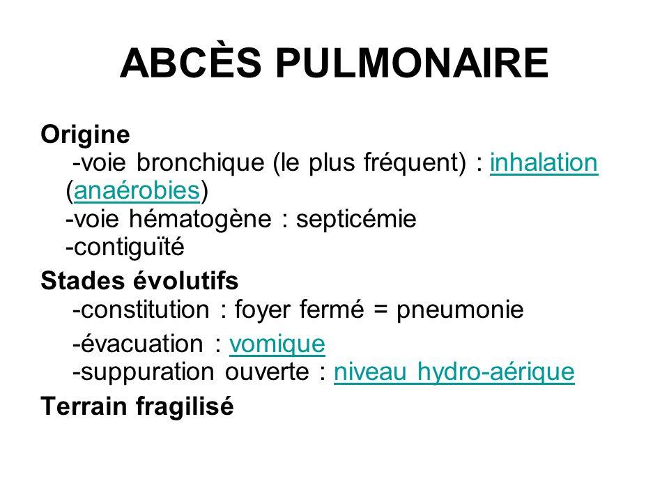 ABCÈS PULMONAIRE Origine -voie bronchique (le plus fréquent) : inhalation (anaérobies) -voie hématogène : septicémie -contiguïté.
