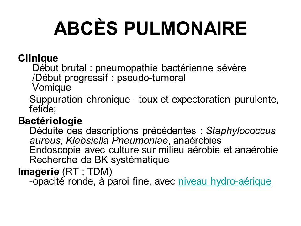 ABCÈS PULMONAIRE Clinique Début brutal : pneumopathie bactérienne sévère /Début progressif : pseudo-tumoral Vomique.