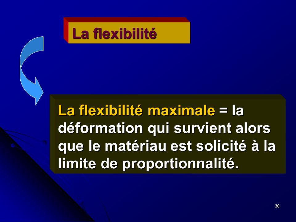 La flexibilité La flexibilité maximale = la déformation qui survient alors que le matériau est solicité à la limite de proportionnalité.