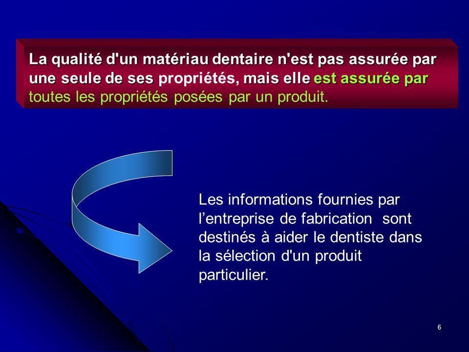 La qualité d un matériau dentaire n est pas assurée par une seule de ses propriétés, mais elle est assurée par toutes les propriétés posées par un produit.