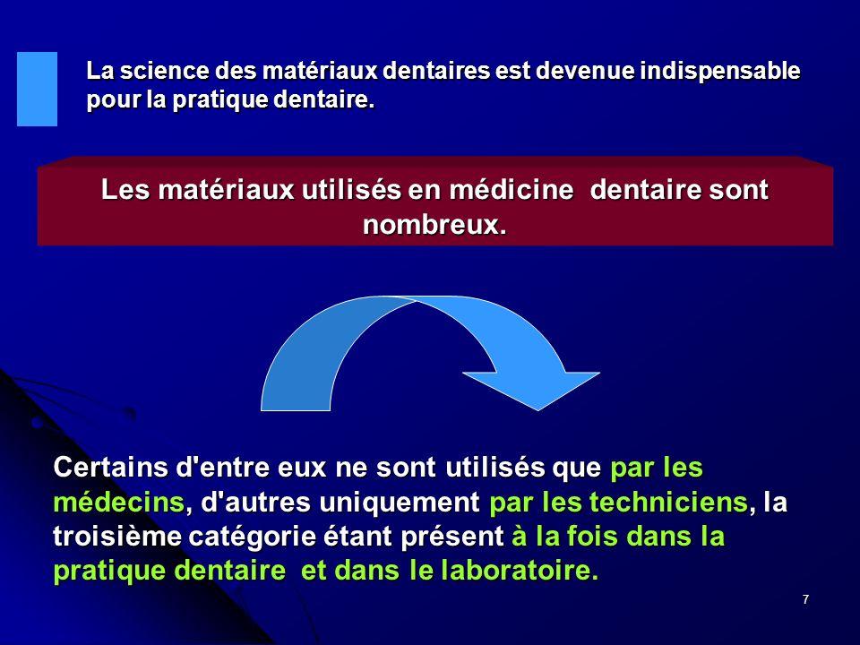 Les matériaux utilisés en médicine dentaire sont nombreux.