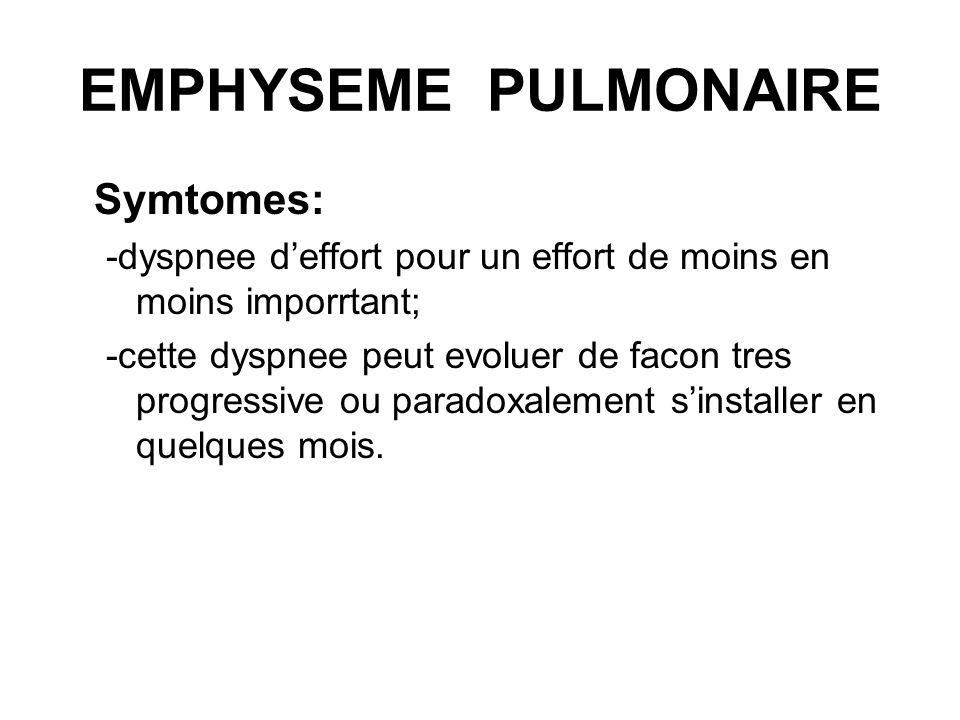 EMPHYSEME PULMONAIRE Symtomes: