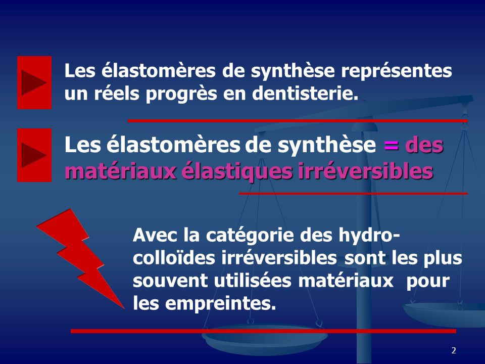Les élastomères de synthèse = des matériaux élastiques irréversibles
