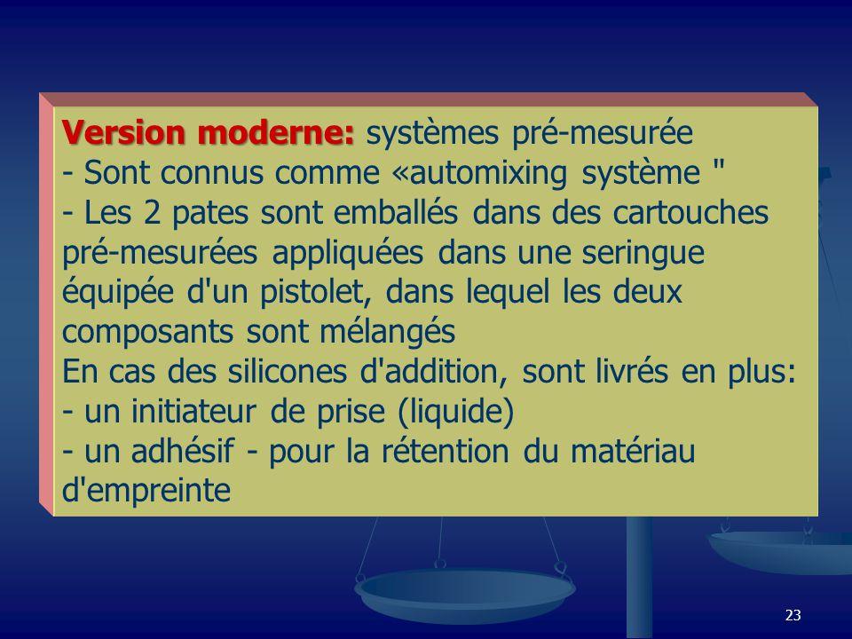 Version moderne: systèmes pré-mesurée