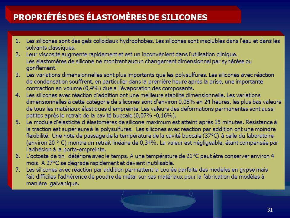 PROPRIÉTÉS DES ÉLASTOMÈRES DE SILICONES