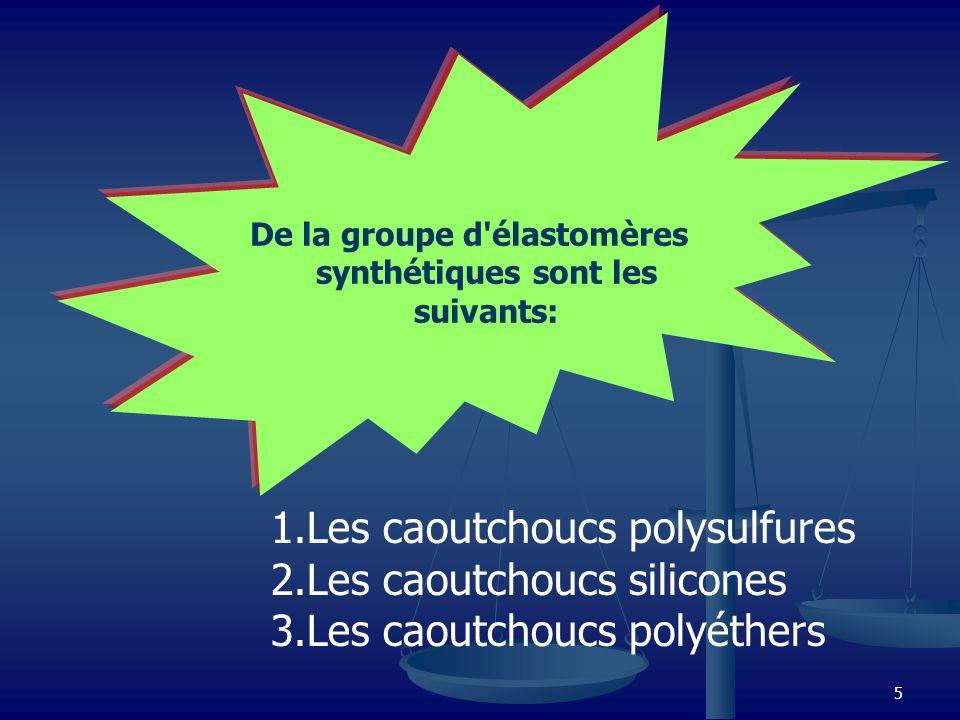 De la groupe d élastomères synthétiques sont les suivants: