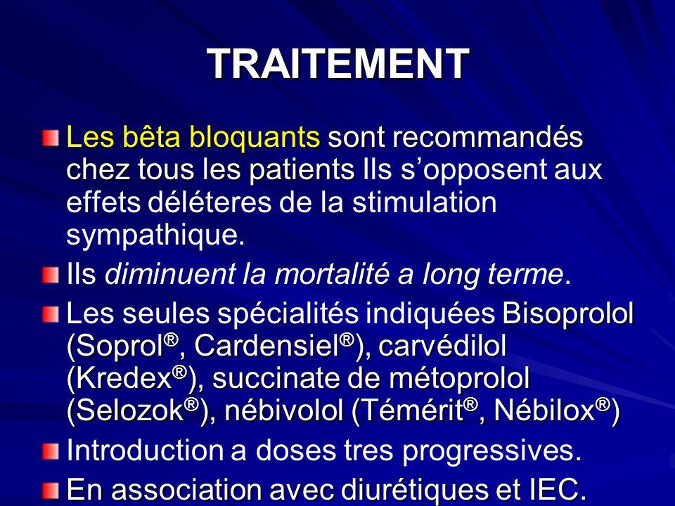 TRAITEMENT Les bêta bloquants sont recommandés chez tous les patients Ils s'opposent aux effets déléteres de la stimulation sympathique.