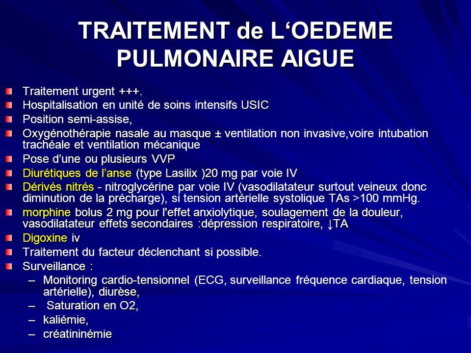 TRAITEMENT de L'OEDEME PULMONAIRE AIGUE